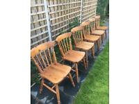 6x solid pine chairs