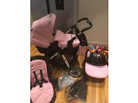 Silver cross pioneer travel system pram Pushchair vintage pink all extras can post