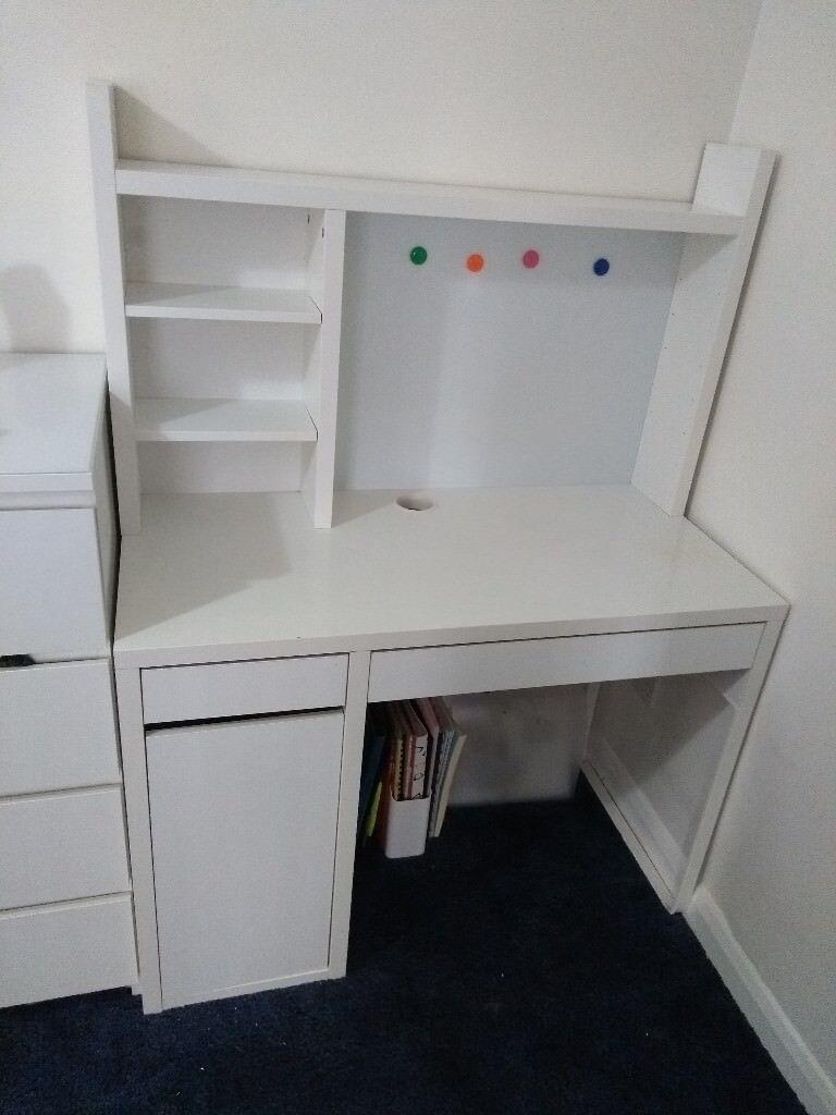 Ikea Micke White Desk And Desk Shelf Unit In Fareham Hampshire Gumtree
