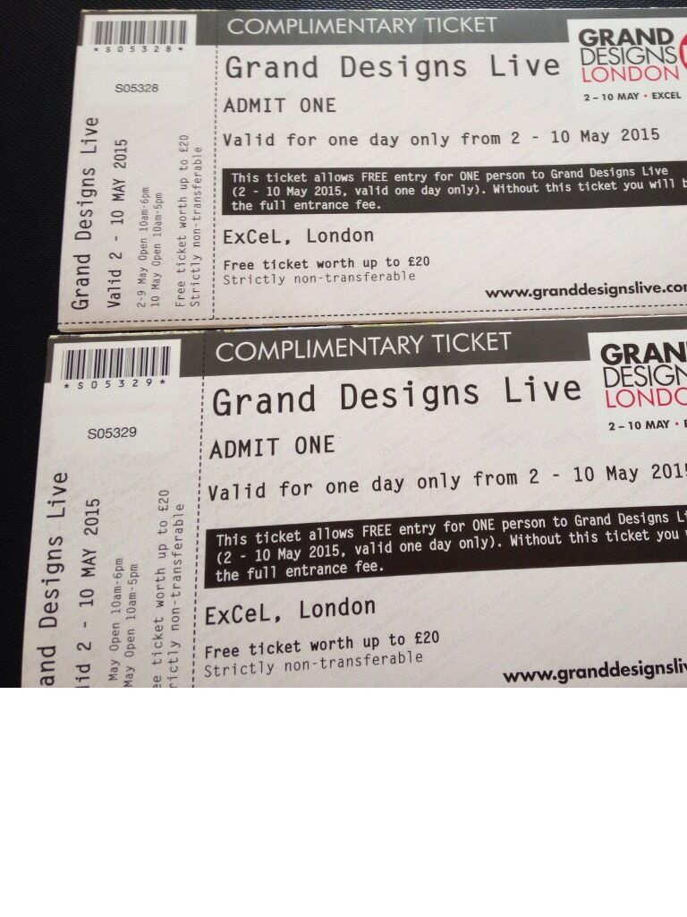 2 X Tickets Grand Designs Live Home Show London Excel