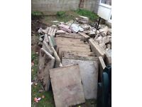 Free used paving slabs 600 x 600 - 18 in total and others cut plus hardcore