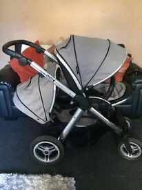 Oyster Max Tandem , Chrome Chassis / exclusive Silver Mist colour Pram
