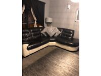 Corner sofa cuddle chair & stool black / cream. Excellent cond. welcome to view
