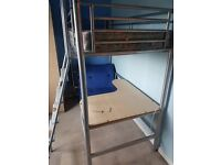 Single cabin bed with desk and futon