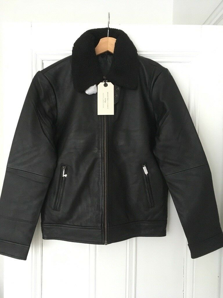 Selected Homme Men's Shnteddy Leather Jacket Borg Collar Size Small Brand  New With Tags RRP £