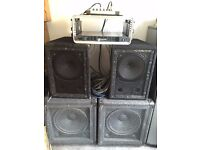 """Complete PA / sound system Tannoy 12"""" concentric mids/tops, 15"""" bass bins Inc SL1200 Amp & Cables"""