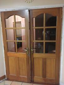 Internal mahogany doors for sale. 2 interlocking doors, suitable for painting.