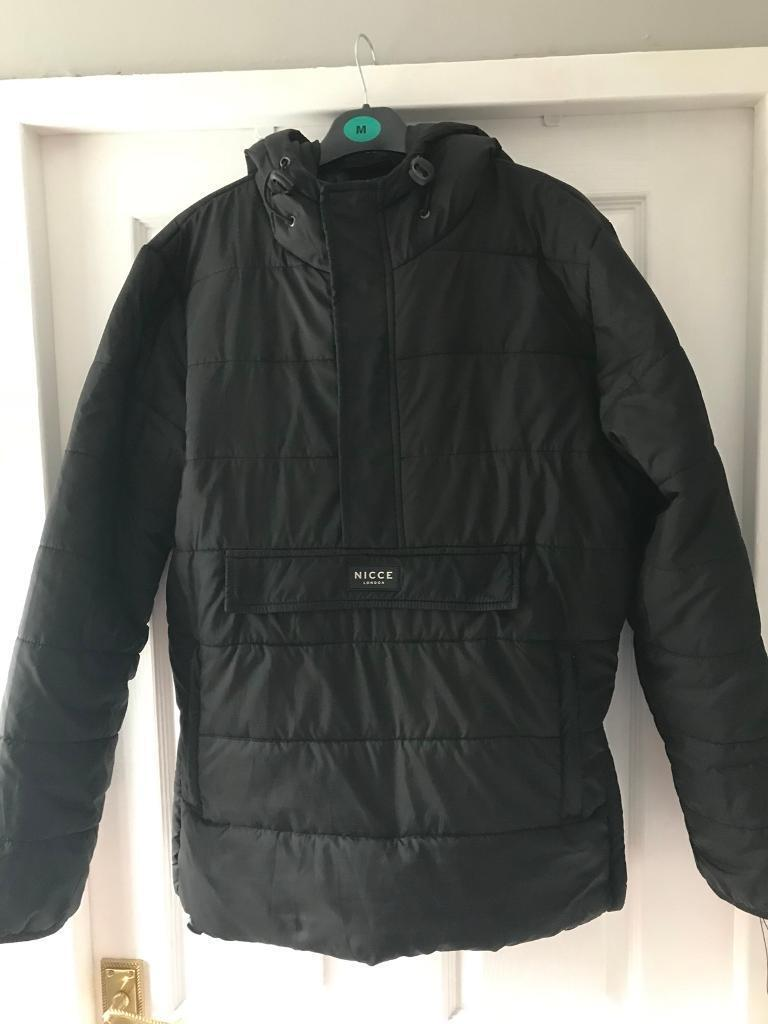 Nicce London Puffer Overhead Jacket In Black With Hood