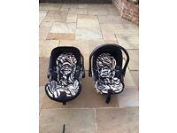 TWO Kiddy Evo Luna I Size Baby Car Seats with Isofix.