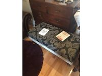 Large Footstool Grey/Black