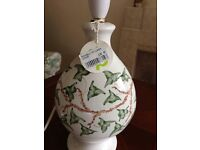 New - Table Lamp (China base) with green trailing ivy design