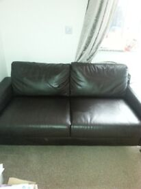 2x 2seater chocolate leather sofas