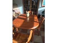 Solid Pine Table with Four chairs Excellent