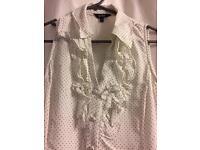 Hobbs cream spotty blouse 8