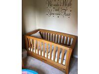 Mamas & Papas Ocean Oak Cot Bed - excellent condition