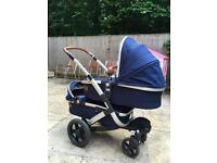 Joolz Geo Twin Pushchair , Parrot Blue Travel System