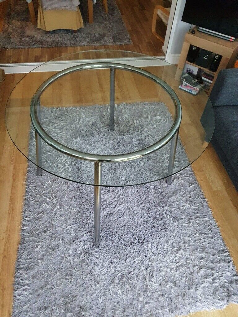 DINING TABLE ROUND GLASS AND CHROME IKEA | in Swindon ...