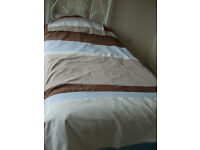 Single bed set Duvet + 2 Pillow cases Duck Egg Blue beige and Browns