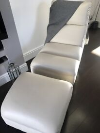 Leather swivel chair with footrest in white