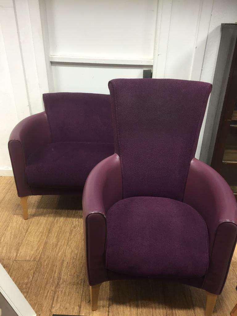 Purple club suite 2 seater & chair