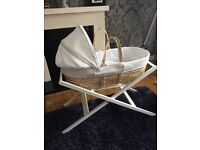 John Lewis Moses basket, mattress, stand and sheets