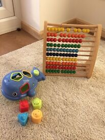 Abacus and Bath Toy with shapes to fit