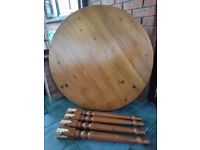 Solid pine round table with 4 chairs