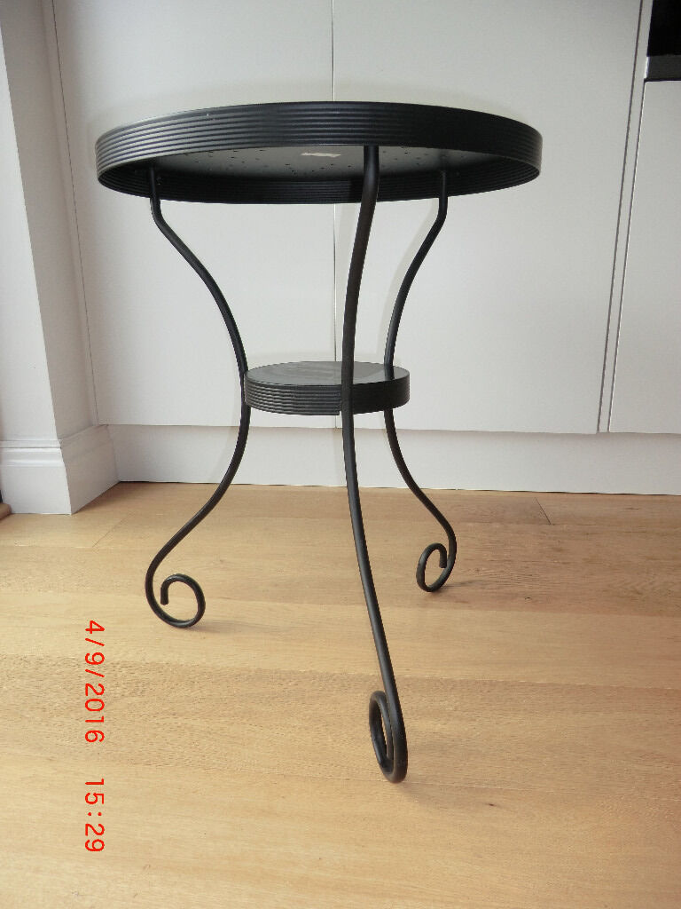 Small round black metal IKEA Noresund occasional side table