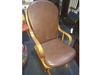 Lovely Vintage Solid Wood Brown Padded Leather (Removable) Rocking Glider Armchair