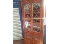 PRIORY-OLD CHARM-ERCOL LEADED CORNER CABINET ---1950-60 s