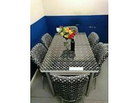 💖💖 HIGH QUALITY GLASS LOUIS VUITTON EXTENDABLE DINING TABLE AND 6 CHAIRS FOR SALE