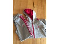 Girls pink and grey adidas tracksuit age 9-10 years