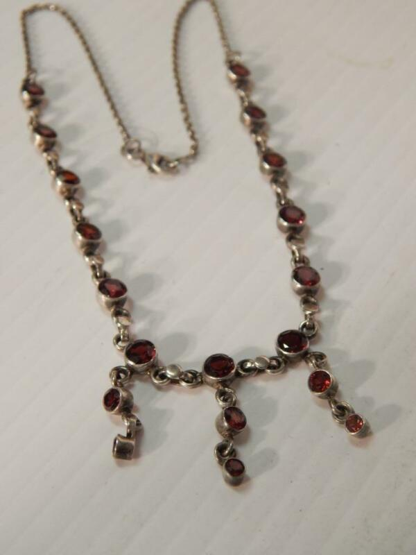 VINTAGE SOUTHWEST / MEXICAN STERLING SILVER  GARNET NECKLACE NICE DROPS A+ GIF