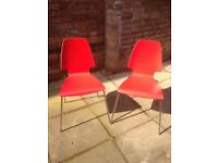 Red IKEA dining chairs x2