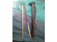 Quality Rose Wood Cue Full Size 2 Piece with Case, in perfect condition, bought for 175 pounds :)