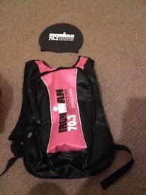 ironman staffs 70.3 triathlon swim cap & bag
