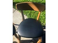 4 x LUND SOLID OAK DINING CHAIR WITH FABRIC SEAT - Like New (Moving abroad)