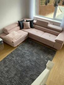 Blush pink corner sofa bed with storage VGC