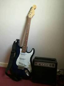 Blue Electric Guitar and Amp