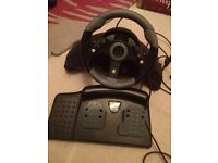 Steering wheel and foot pedal for Xbox