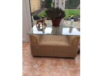 Daro Rattan sofa and matching glass table very good condition
