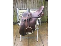 One small one medium leather saddle