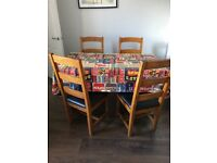 Large handmade table and solid oak chairs