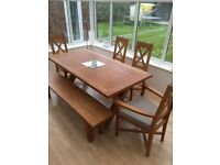 Solid Oak dining table & chairs seats up to 12 - bargain for Christmas dinner