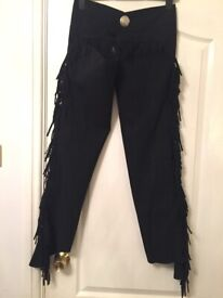 Equi Grip luxury synthetic black fringed, suede full chaps Size S