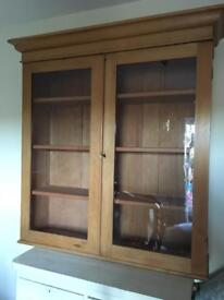 Lovely Old Pine Glass Cupboard