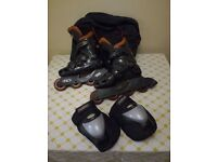 Baja Roller Derby Size 7 Adult Rollerblades with Large Poison Knee Pads