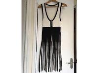 Karen Millen black & white dress, size 12, knee length, pleated skirt, zip front detail