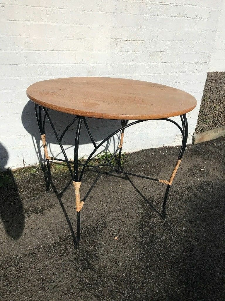 Pine top metal framed occasional table