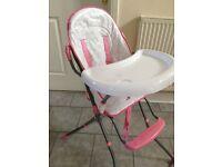 Highchair - Pink/White